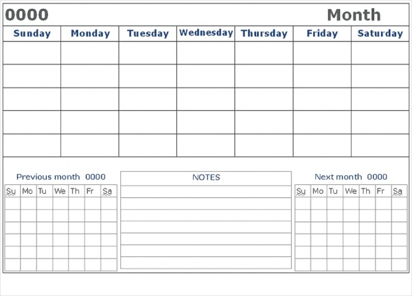Free Blank Calendar Design