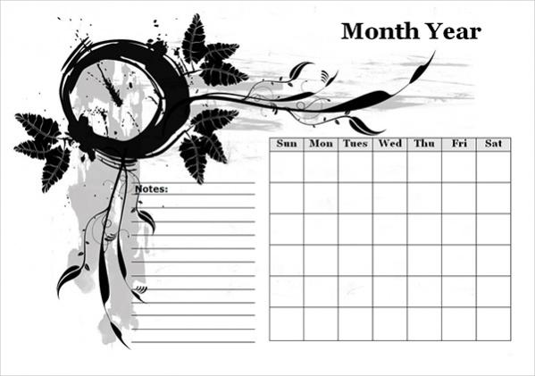 Free Blank Event Calendar