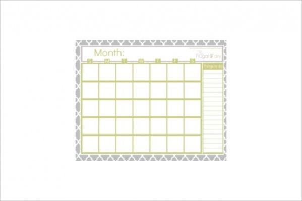 Free Blank Excel Calendar