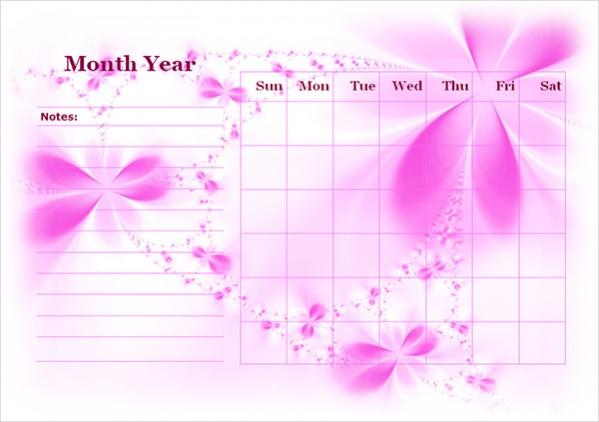 Free Blank Landscape Calendar