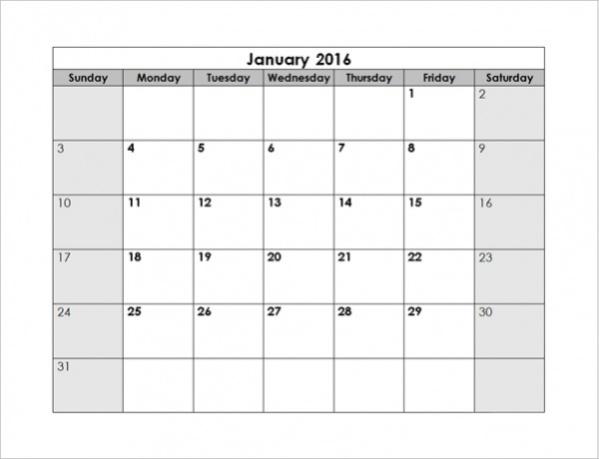 Free Blank Monthly Calendar