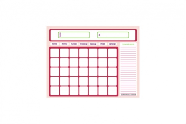 Free Blank Pink Calendar