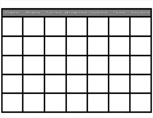 Free Blank Pocket Calendar
