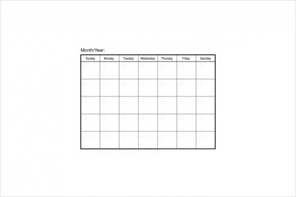 Free Blank Workout Calendar