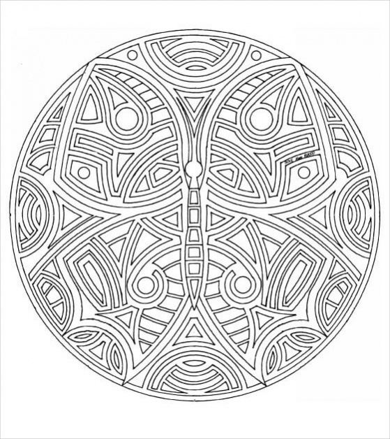 free butterfly mandala coloring page