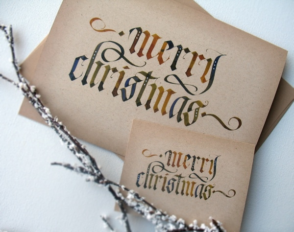 Free Calligraphy Merry Christmas Card