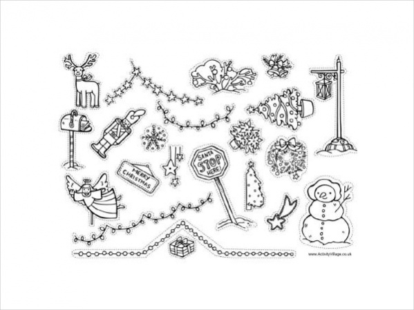 Free Christmas Decorations Coloring Page
