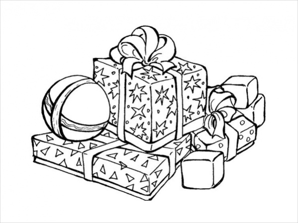 Free Christmas Gifts Coloring Page