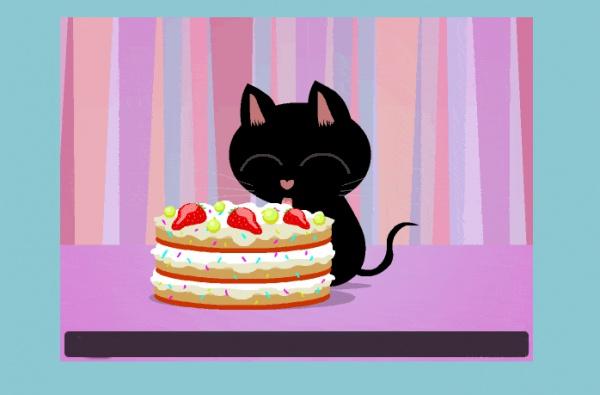Free Electronic Cat Birthday Cake