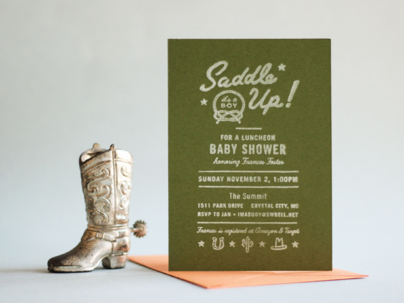 Free Hand Stamped Baby Shower Invitation