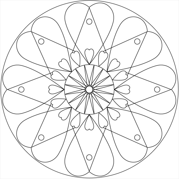 Simple Heart Mandala Coloring Pages Coloring Pages