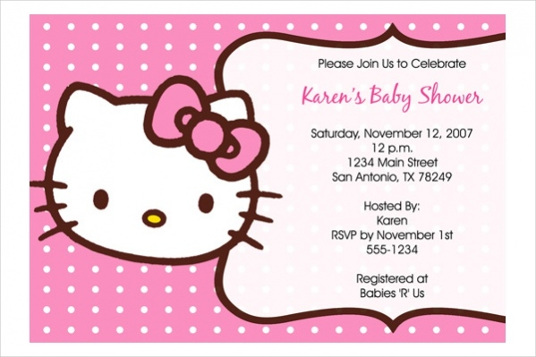 Free Hello Kitty Baby Shower Invitation