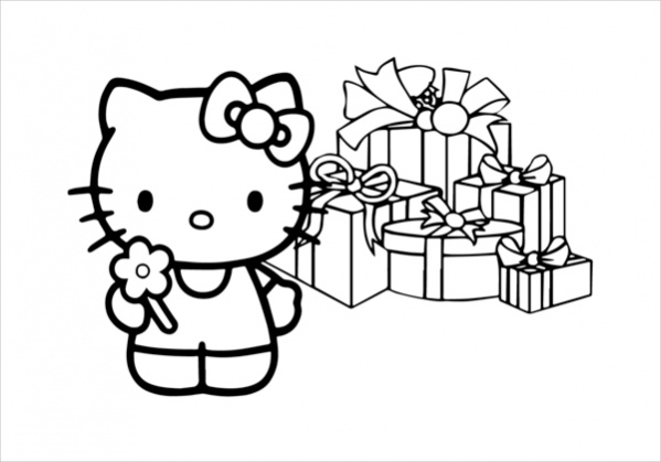Free Hello Kitty Christmas Coloring Page