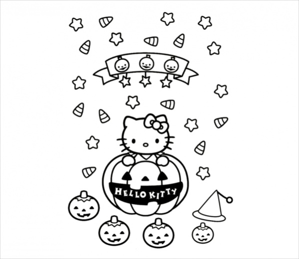 Free Hello Kitty Halloween Coloring Page