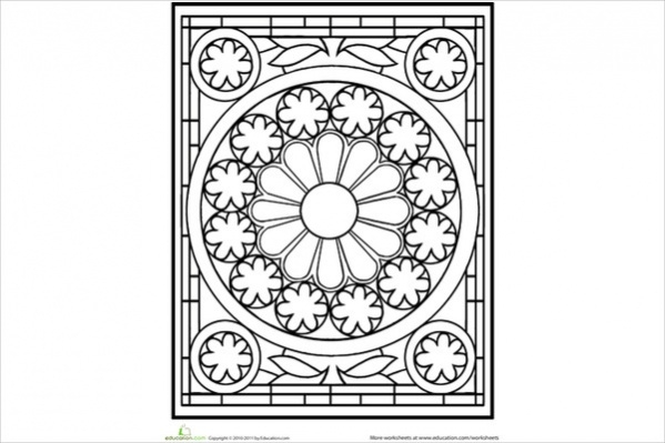 Free Mandala Abstract Glass Coloring Page