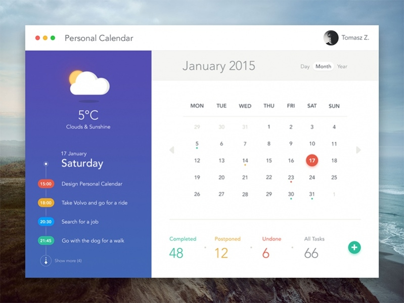 Free Personalised Monthly Calendar