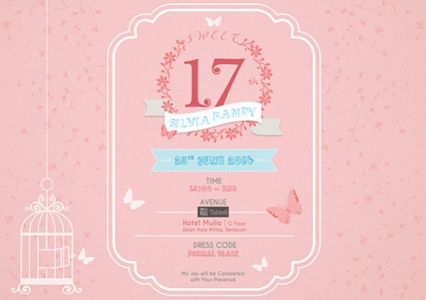 Free Printable 17th Birthday Invitation