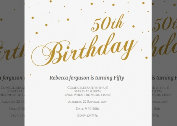 Free Printable 50th Birthday Invitation