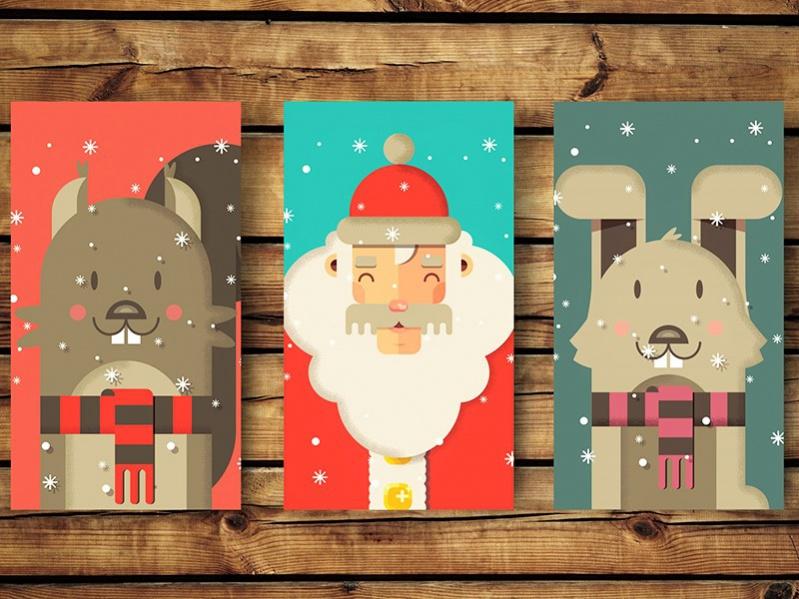 Free Printable Christmas Cards Set