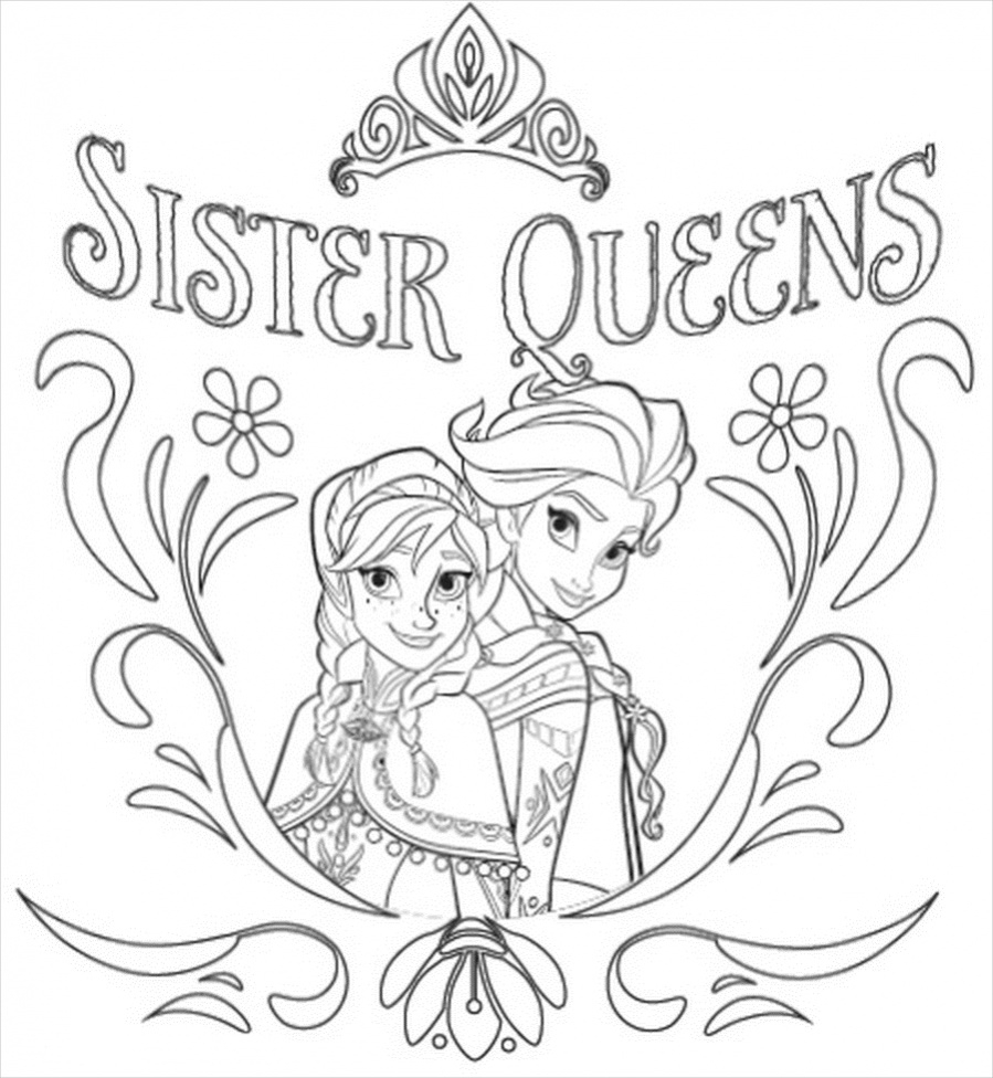 free printable frozen coloring page design - Elsa And Anna Coloring Pages