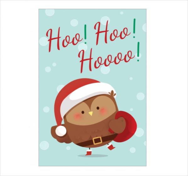 Free Printable Santa Owl Christmas Ecard