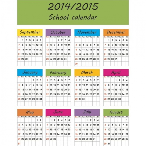 Free School Monthly Calendar Design
