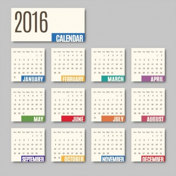 Free Vector Monthly Calendar Design