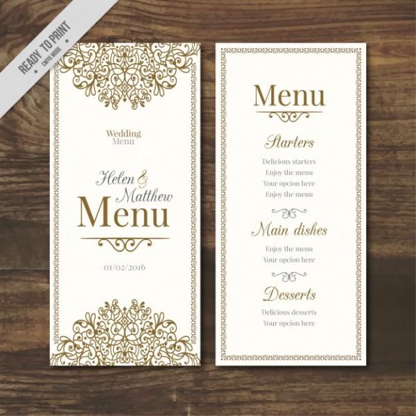 Free Wedding Menu Designs