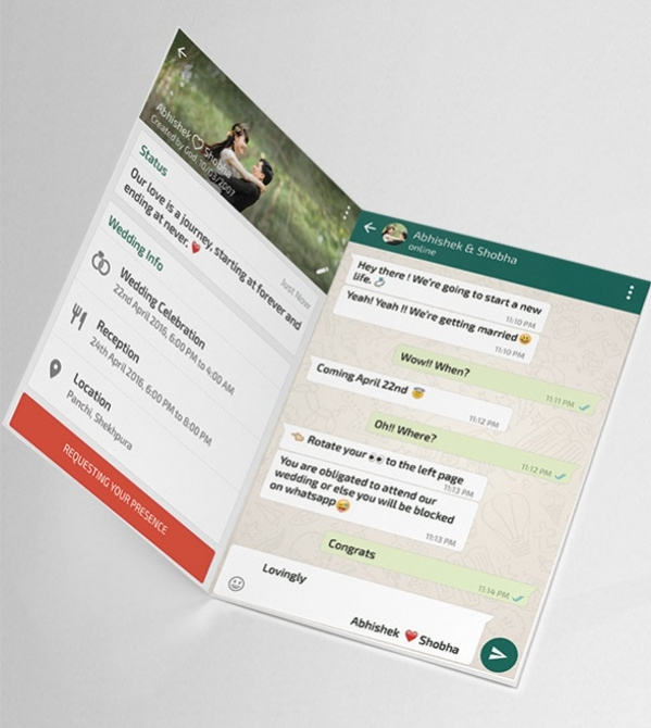 Invitation Card Sample Design. Whatsapp Themed Wedding Card Sample 17  Free Samples JPG PSD AI Illustrator Download