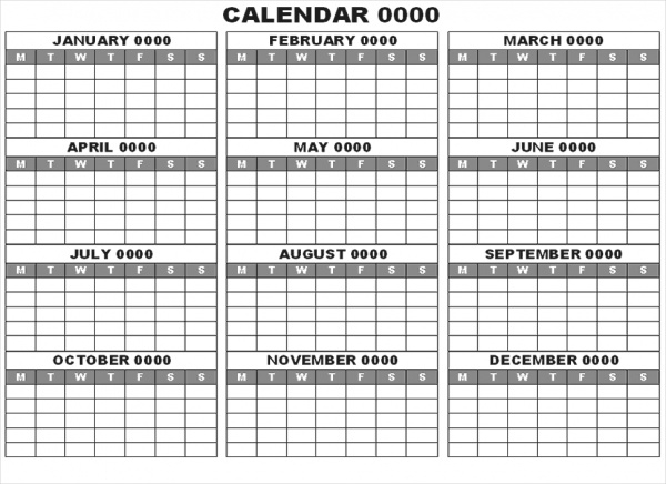 Free Yearly Blank Calendar