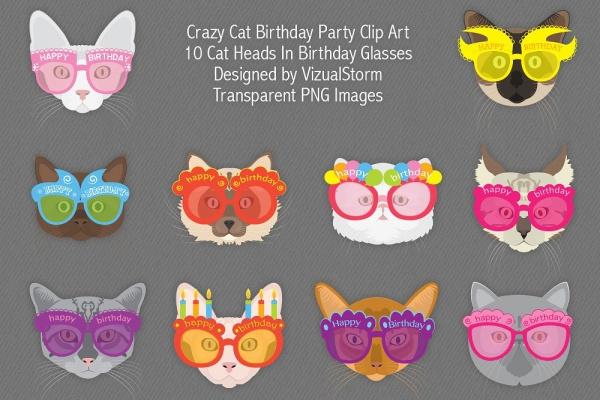 Funny Birthday Cat Clipart