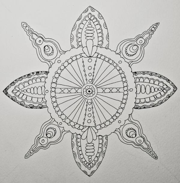 Geometric Flower Drawings