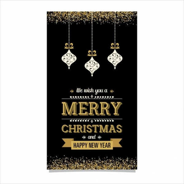 Golden and Black Christmas Card