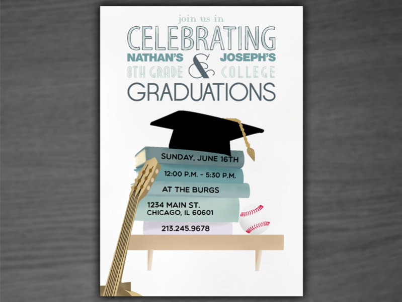 Graduation Shelf Stack party Invitation