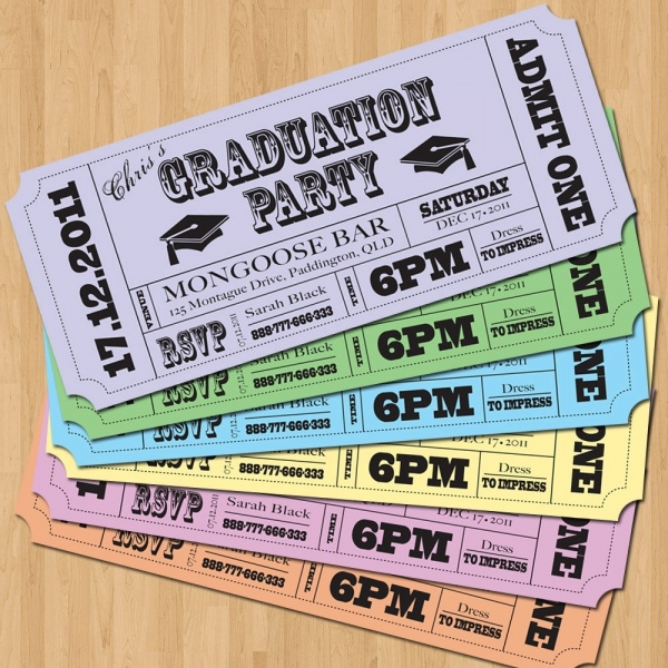Graduation Vintage Tickets Invitations