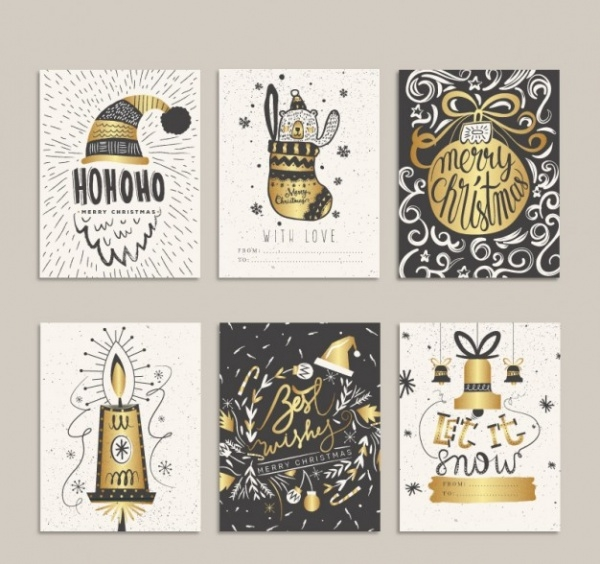 Hand Drawn Golden Christmas Cards