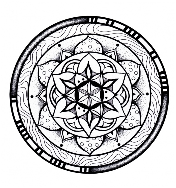 Hand Drawn Mandala Coloring Pages