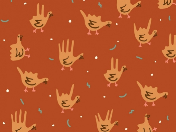Hand Turkeys Seamless Pattern