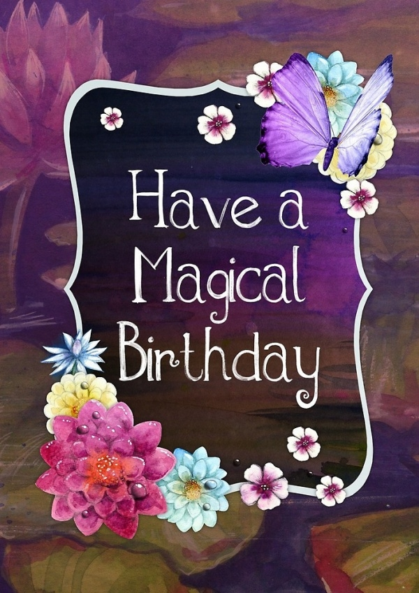 happy birthday magical greeting card