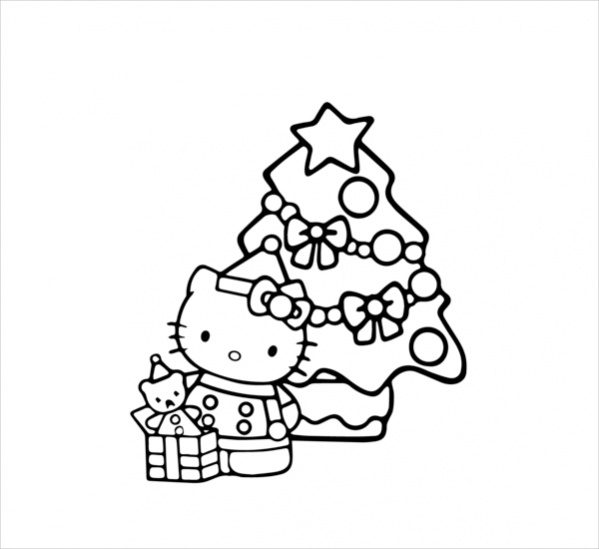 Hello Kitty Coloring Pages With Crayons : Christmas coloring pages vector eps pdf download