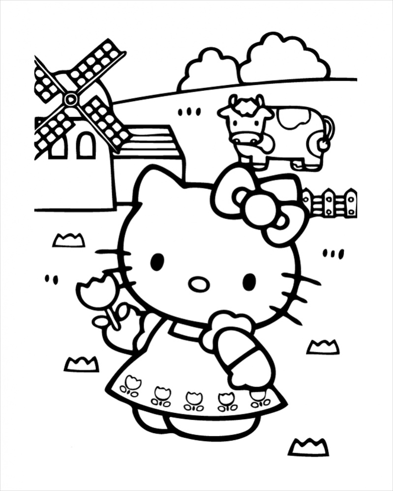 Hello Kitty In Farm Coloring Page