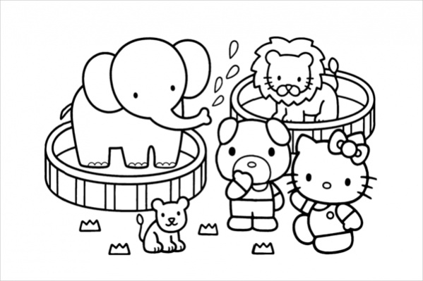 hello kitty in zoo coloring page