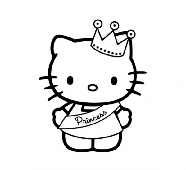 Hello Kitty Princess Coloring Page