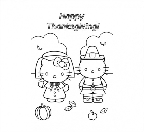 hello kitty thanksgiving coloring page
