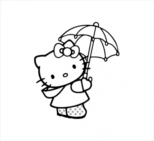 Hello Kitty Under Umbrella Coloring Page