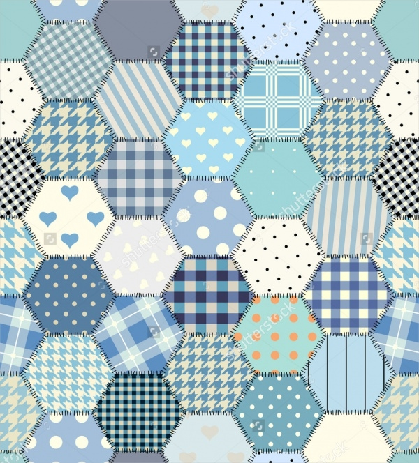 Hexagon Stitched Quilt Pattern