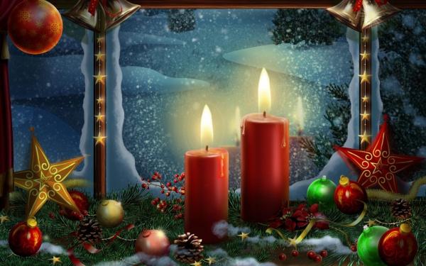 Holiday Candles Postcard Wallpaper