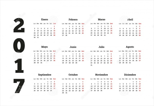 Isolated Yearly Simple Calendar