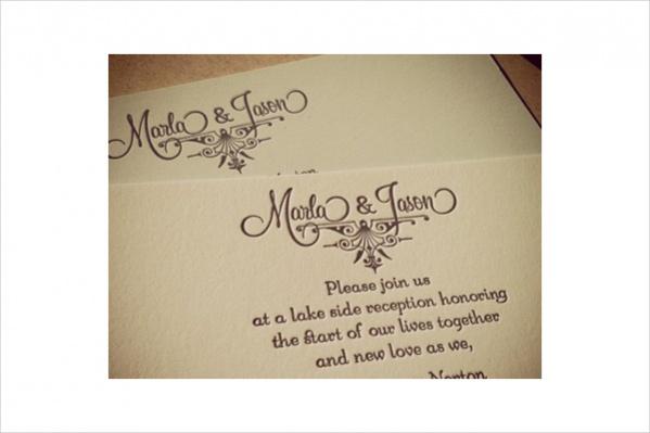 Letterpress Reception Invitation Design