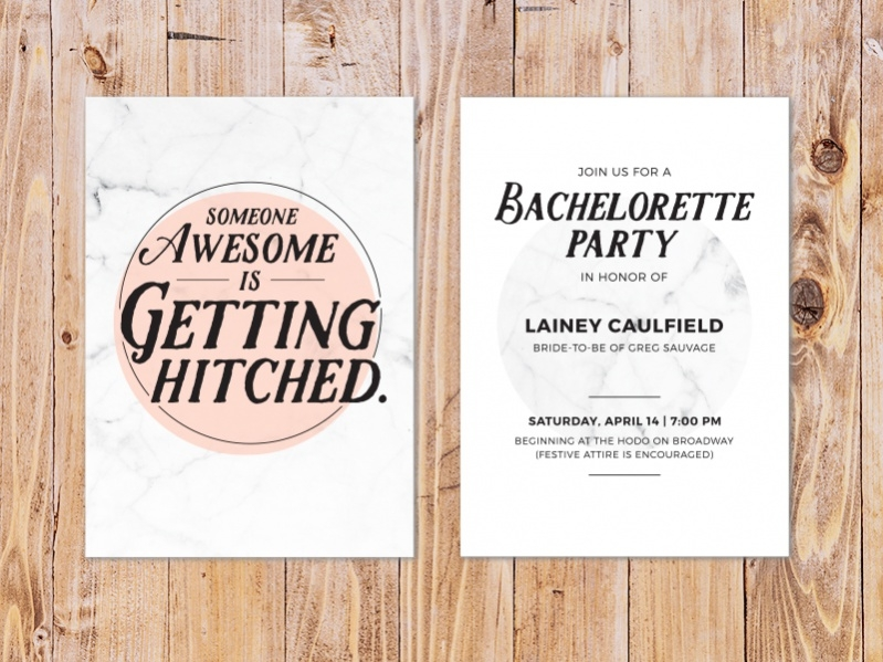 Marble Print Bachelorette Invitation